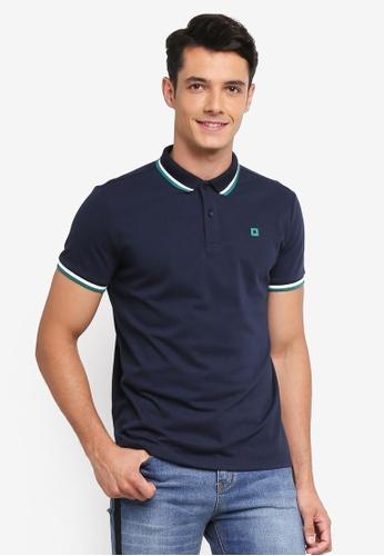 Penshoppe blue and navy Contract Tip Polo Shirt E68FCAA2830EC0GS_1