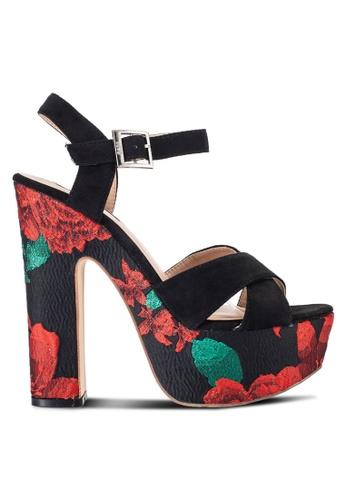 Nose black Floral Print Suede Platform Heels NO327SH35IKAMY_1