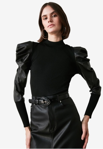 Trendyol black Faux Leather Puff Sleeve Sweater 72E65AAF267900GS_1