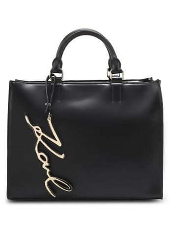 KARL LAGERFELD black K/Signature Shopper Bag KA533AC0SDCEMY_1