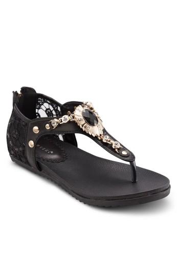 蕾絲T 字帶平底涼鞋, 女鞋, esprit holdings limited涼鞋