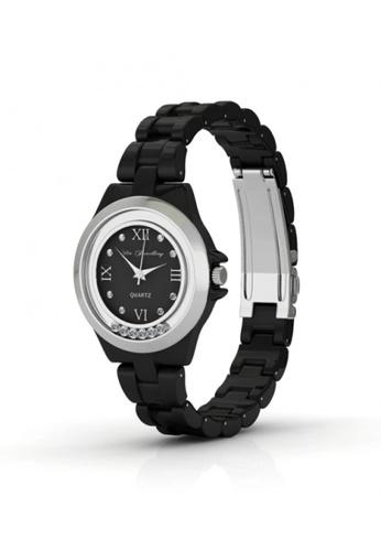 Her Jewellery black Swarovski® Crystals -Hip Watch (Black) (18K White Gold Plated) Her Jewellery HE581AC0RDQ8MY_1