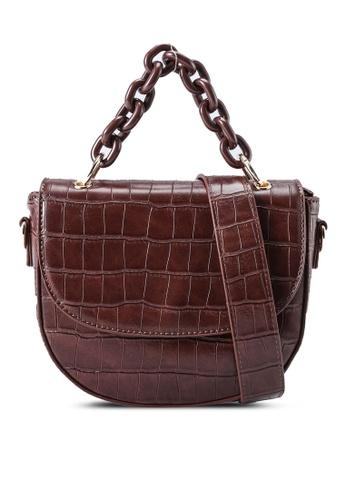 Red's Revenge brown Cara Croc Chain Link Top Handle Bag D8E55AC9D18DC9GS_1