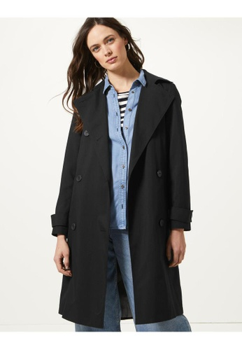 MARKS & SPENCER black M&S Double Breasted Trench Coat 35D91AA6C43544GS_1