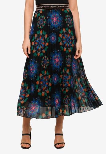 Desigual black Mandalas Pleated Midi Skirt BFB61AAFF3C09AGS_1