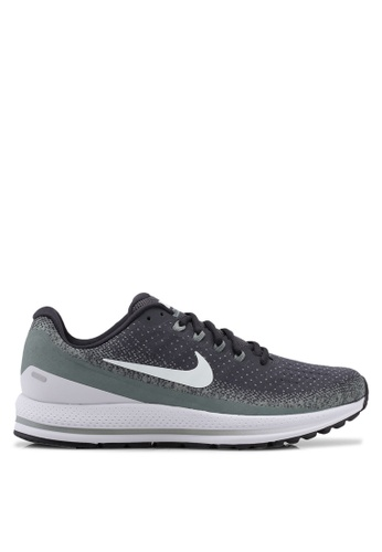 Nike black and grey and green Men's Nike Air Zoom Vomero 13 Running Shoes B57E4SH28A972DGS_1