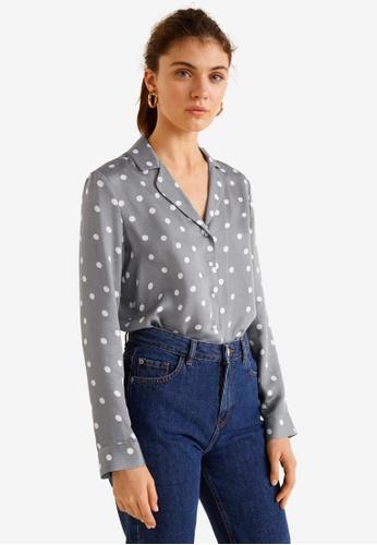 Mango grey Satin Print Shirt 62B02AA89CB256GS_1