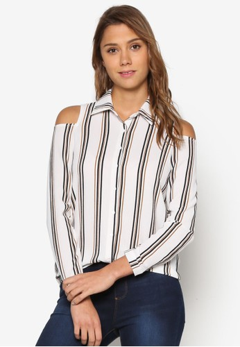 條紋挖肩長袖襯衫、 服飾、 T-shirtNewLook條紋挖肩長袖襯衫最新折價