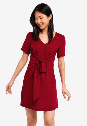 ZALORA BASICS red Basic Twist Tie Dress 56B69AA6997122GS_1