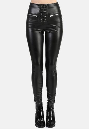 London Rag black Black Lace Up Skinny Pants C8229AA5C90D1BGS_1