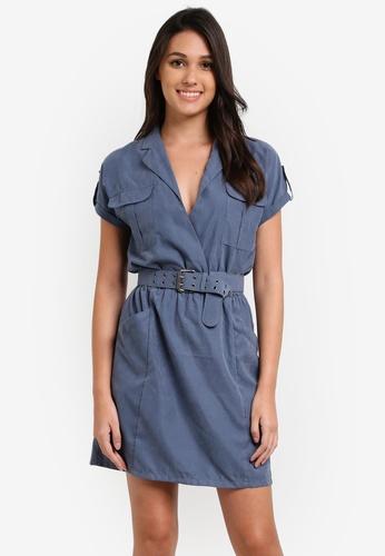 Something Borrowed blue Belted Utility Mini Dress 7518EAAE9C7ABDGS_1