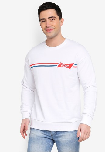 Jack & Jones white Jorbuds Printed Sweatshirt 3A05BAABA1A142GS_1