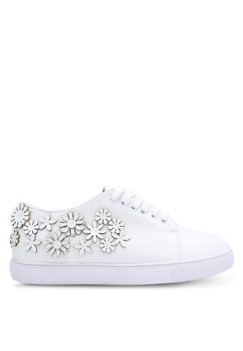 Velvet white Floral Cut Out Sneakers 1C683SH3C541E6GS_1