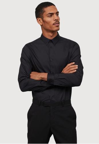 H&M black Slim fit Stretch shirt 2ABF7AAA51A9C4GS_1
