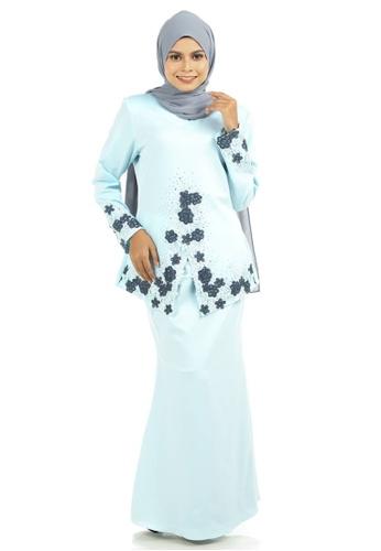 Ashura blue Deya Kebaya With Patched Lace 82CFBAAC7B072BGS_1