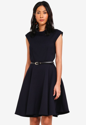 CLOSET navy Stand Collar Skater Dress 44657AAB6120C7GS_1