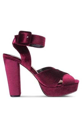 Dorothy Perkins red Burgundy 'Ruby' Velvet Sandals DO816SH09YGSMY_1
