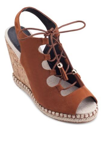 露趾交叉zalora時尚購物網的koumi koumi帶厚底楔型涼鞋, 女鞋, 鞋