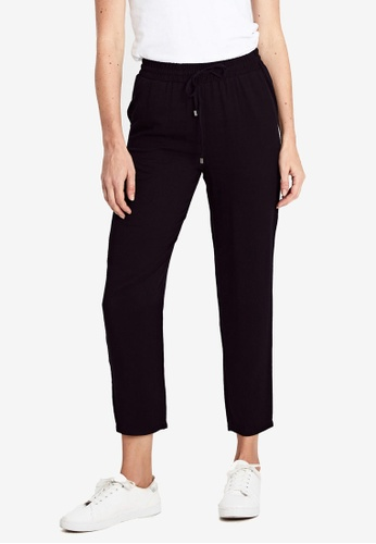 LC Waikiki black Elastic Waist Ankle Length Carrot Fit Trousers C9CD2AA731C851GS_1