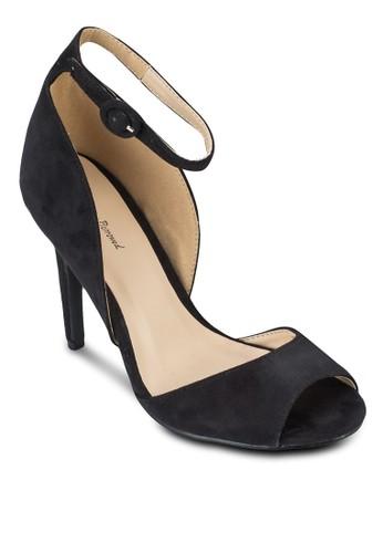 露趾側空仿麂皮高跟鞋zalora 衣服評價, 女鞋, 魚口鞋