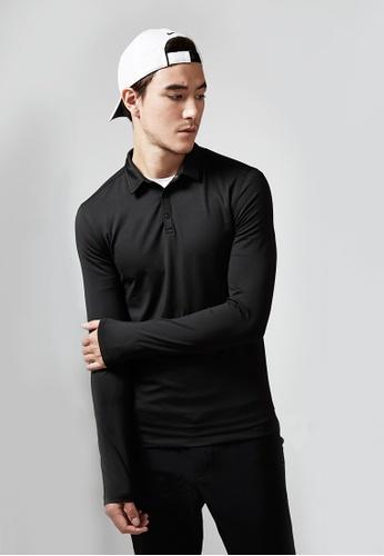 Life8 black Training Antistatic Long Sleeve Polo Shirt-1307105-Black LI283SE75EKASG_1