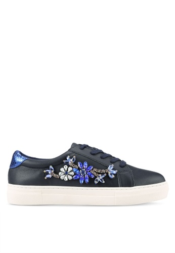 Dune London navy Jewelled Trainers DU588SH0RK5LMY_1