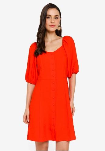 LC Waikiki orange Watermelon Sleeve Detailed Viscose Dress 9AED9AA2582E6EGS_1