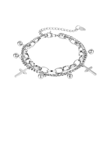 Glamorousky 銀色 時尚簡約十字架圓珠316L鋼雙層手鏈 671E5ACB98BCE0GS_1