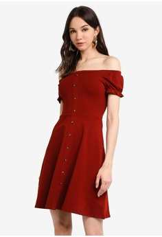 170f6257598 Dorothy Perkins red Rust Button Bardot Fit And Flare Dress  77C12AAF6B42DDGS 1