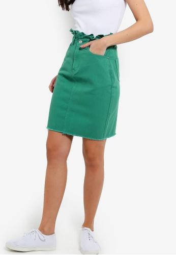 ZALORA 綠色 抽鬚下擺丹寧裙 9B69BAA4496785GS_1