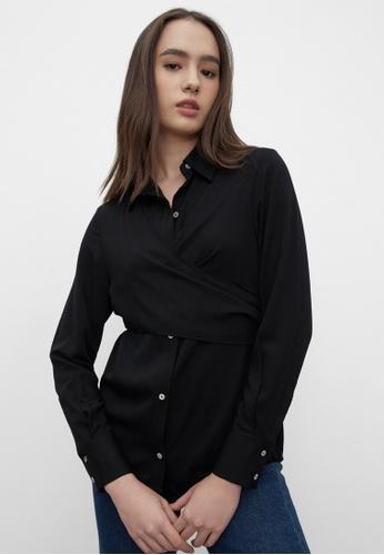 Pomelo black Sustainable Criss Cross Shirt - Black 5E25AAAD58A71BGS_1