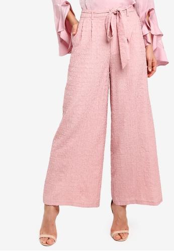 Zalia pink Textured Wide Leg Pants B1FCCAA9EE2CB6GS_1