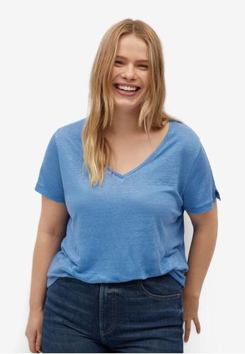 Violeta by MANGO blue Plus Size V-Neck Linen T-Shirt 90B6AAAC8EDB4AGS_1