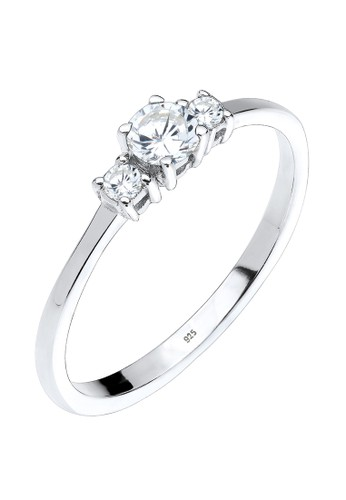 Elli Germany white 925 Sterling Silver Cincin Zircon Engagement Putih FC55DAC0F3029DGS_1
