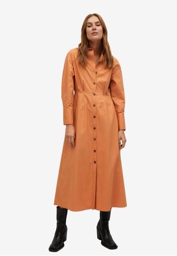 Mango orange Cotton Shirt Dress D60DAAA03F992DGS_1