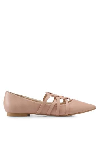 ZALORA beige Faux Leather Ballerinas BECF4SH2714CD7GS_1