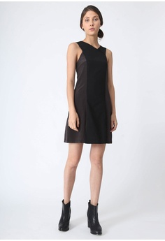 781656e4f89f31 SALIENT LABEL black and brown Stiles Asymmetric Neckline Dress in Anchor  5D485AA18A4083GS 1