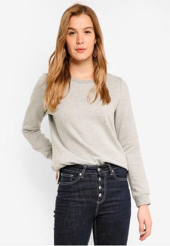 ICHI grey Glam Sweater AC68AAA6F8B374GS_1