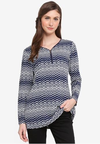TOPGIRL blue V-Neck Printed Blouse with Zip 08BAEAA853EF5DGS_1