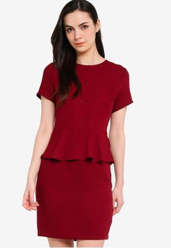 ZALORA WORK red Short Sleeve Peplum Dress 9234DAAC328BD0GS_1