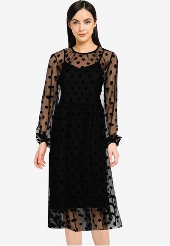 Vero Moda black VMAUGUSTA DOT L/S MESH DRESS 619F5AA889B4C0GS_1