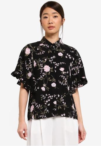 Dorothy Perkins black Black Floral Frill Shirt 3B55EAA3CBF5D1GS_1