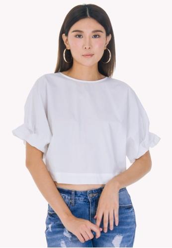 4e819c9c2d Nichii white Ruched Sleeve Cotton Poplin Top E204AAA983CAB3GS 1