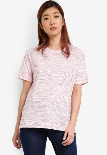 UniqTee white Red Stripe Roll Back T-Shirt UN097AA0S22QMY_1