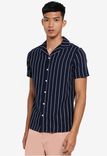 !Solid 海軍藍色 短袖條紋襯衫 BC3ACAA7240C40GS_1