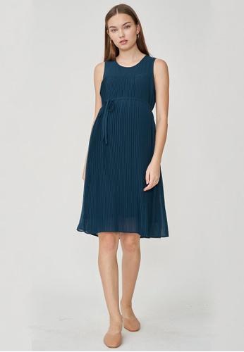 Dear Collective blue BELLA PLEATS NURSING DRESS TEAL 9B69FAA6F11554GS_1