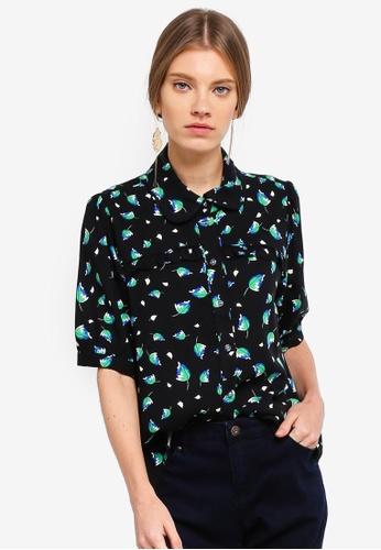 ESPRIT black and multi Woven Short Sleeve Shirt 8A4DBAA8CA6BA3GS_1