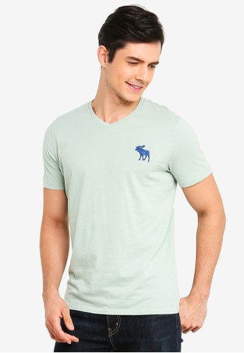 Abercrombie & Fitch green Exploded Icon V-Neck T-Shirt 5B047AA0B9FDBFGS_1