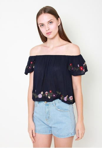 Leline Style blue Delaney Embroidery Offshoulder Blouse FDF4AAAA298B0DGS_1
