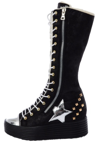 Maxstar 568 Synthetic Leather inside fur Studed Black Platform Half-Long Boots US Women Size MA168SH97DWOHK_1